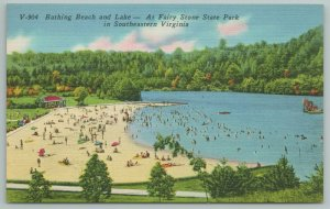 Fairy Stone State Park Virginia~Bathing Beach & Lake~Vintage Postcard