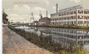 Standard Paint Co Factory Canal View South Bound Brook New Jersey 1910c postcard