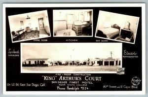 San Diego CA~King Arthur's Court~Roadside Motel~Mini Views~Inside Out~1940s RPPC