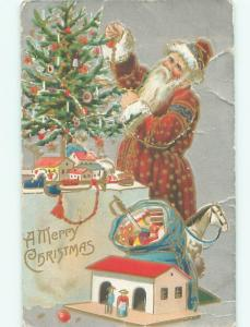 Pre-Linen Christmas LONG ROBE SANTA CLAUS DECORATES THE TREE AB4715