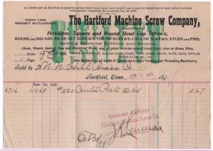 1899 Billhead, THE HARTFORD MACHINE SCREW COMPANY, Hartfo...