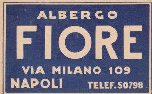 Italy Napoli Albergo Fiore Vintage Luggage Label sk3355