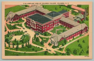 Columbia South Carolina~Columbia College~Airplane View~c1937~Linen Postcard