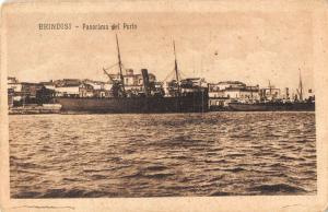 Brindisi Italy panoramic view ships in port antique pc Y10971
