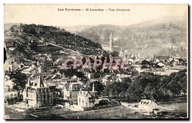 Old Postcard Lourdes Pyrenees Vue Generale