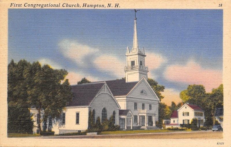Hampton New Hampshire~First Congregational Church~1940s PC