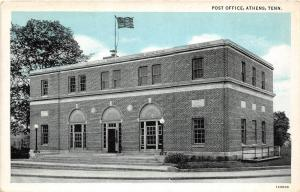 A60/ Athens Tennessee Tn Postcard c1940s Post Office Building