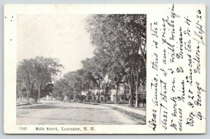 Lancaster New Hampshire~Main Street~Residential Area~Trees Along Sidewalk~1906