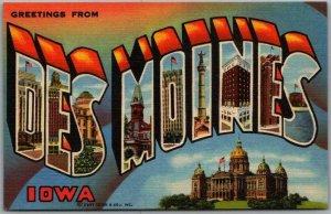 Vintage DES MOINES Iowa Large Letter Postcard State Capitol View CURTEICH Linen
