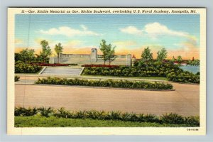 Annapolis MD-Maryland, Governor Ritchie Memorial US Naval Academy Linen Postcard