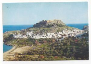 Greece Rhodes Lindos Modern City under Acropolis Postcard Vintage 4X6