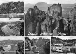 Germany Saechs. Schweiz, Bastei, Blick zur Bastei, Rathen, Amselsee AK
