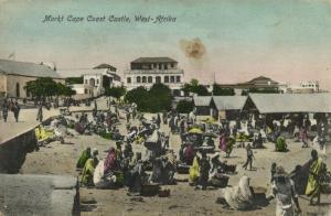 ghana, Gold Coast, CAPE COAST, Castle, Market Scene (1910s) Postcard