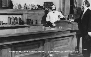 Greenbush Wisconsin~Old Wade House~Barroom Interior~Mannequins~1940s RPPC