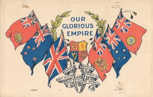 Rare Vintage, Our Glorious Empire Postcard, Great Britain, Imperialism, Flags