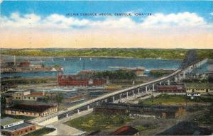 Dubuque Iowa~Birdseye Julien Dubuque Bridge~Industrial Plants~1947 Postcard