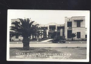 RPPC MISSION TEXAS HOTEL MISSION OLD CARS VINTAGE REAL PHOTO POSTCARD