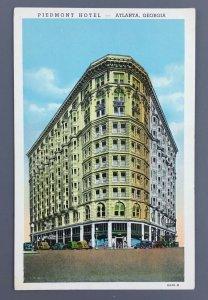 1938 The Piedmont Hotel Atlanta GA Linen Postcard Peachtree Forsyth Curt Teich