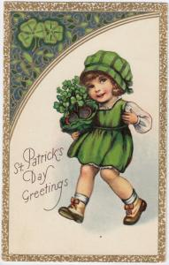 ST. PATRICK'S DAY , 1900-10s ; Girl with shamrocks