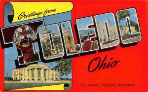 LP08   Toledo Ohio  Large Letter     Postcard U.S. Naval Reserve Bldg