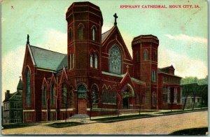 1908 Sioux City, Iowa Postcard EPIPHANY CATHEDRAL Catholic Church Street View
