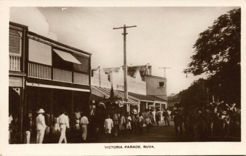 fiji islands, SUVA, Victoria Parade (1930s) RPPC