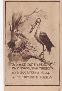 Birth Storks Sitting In Tree A Hard Day My Dear 1912