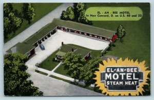 Postcard OH New Concord El-An-Bee Motel Airview Vintage Linen V16
