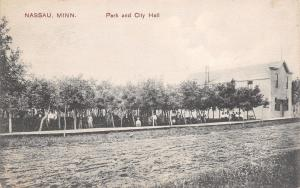 Nassau Minnesota~Crowds in Park Peek Out Thru Trees~City Hall~Rutted Road~1914