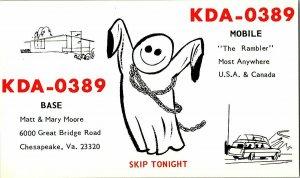 QSL Radio Card From Chesapeake Va. Virginia KDA-0389
