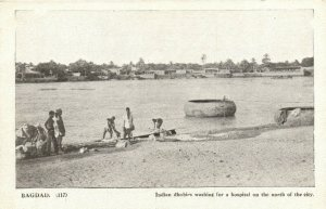 PC CPA IRAQ, BAGDAD, INDIAN DHOBIES WASHING, VINTAGE POSTCARD (b16189)