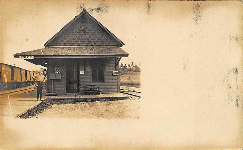 Solon ME Railroad Station Train Depot Wooden Landing RPPC Postcard