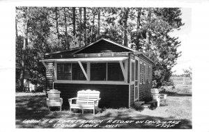 Roar's Beacon Resort Cabin #8 Sand Lake Stone Lake Wisconsin RPPC postcard
