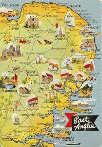 Vintage 1960s/70s East Anglia Map Postcard Norfolk Suffolk, Norwich, Ipswich AX6