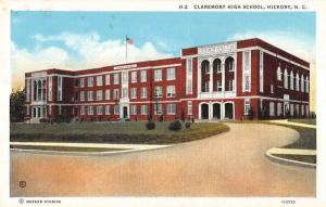 Hickory North Carolina birds eye view Claremont Hight School antique pc Y11348