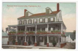 Railroad Hotel Hightstown New Jersey 1910c postcard