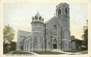 Watertown New York~Holy Family Roman Catholic Church~1920s Postcard