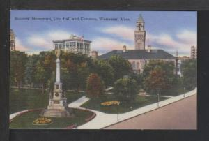 Soldier's Monument,City Hall,Commons,Worcester,MA Postcard