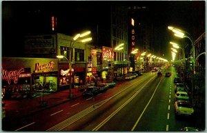 Chicago, Illinois Postcard STATE STREET AND NIGHT Looking North 1950s Unused