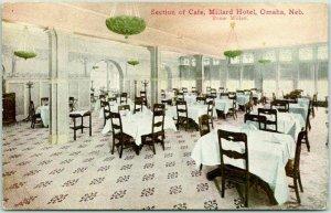 Omaha, Nebraska Postcard Section of Cafe, MILLARD HOTEL Restaurant c1910s