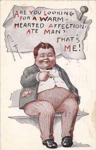 Humour Fat Man Sitting On Bench 1914