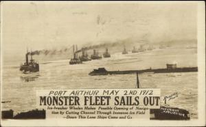 Port Arthur Ontario? Monster Fleet Ships Sail Out 1912 Real Photo Postcard dcn