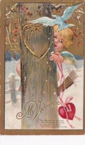 Valentine's Day Cupid Hiding Behind Tree