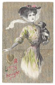 Valentine Postcard Beautiful Woman Dog Embossed Gold Moire