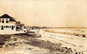 Row of Cottages & Beach Wells Beach Maine Real Photo Postcard
