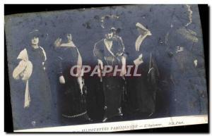 Postcard Old Fashion Headdress Woman Parisian Silhouettes L & # 39automne