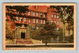 Montreal QC Quebec Canada, McGill University Mechanics And Mining Linen Postcard