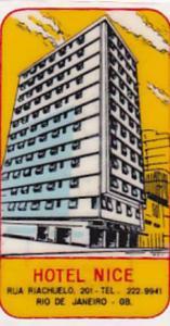 BRASIL RIO DE JANEIRO HOTEL O K VINTAGE LUGGAGE LABEL