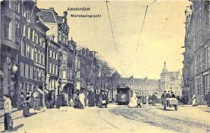 Amsterdam Netherlands Busy Street View Trolley Postcard
