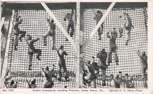 Seabee Commando Landing Practice, Camp Peary, VA, WWII Era Postcard, Unused